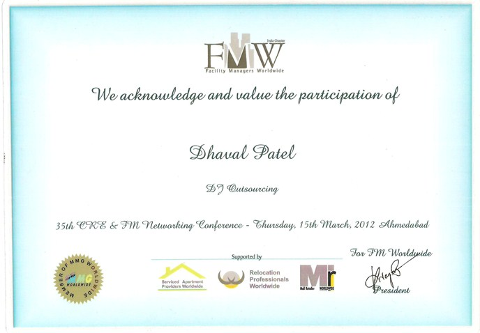 MMG worldwide networking conference certificate