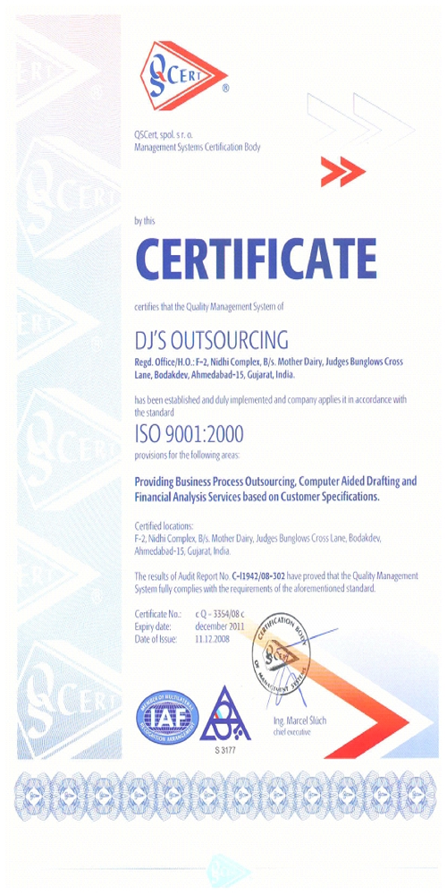 Dj's Outsourcing ISO certificate
